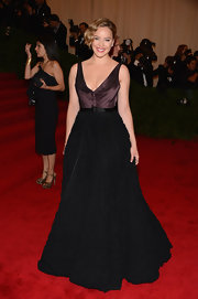 Abbie Cornish looked prim and elegant in this two-tone textured gown at the Met Gala.