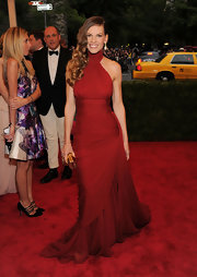 Hilary Swank went for a classic red chiffon gown at the Met Gala.