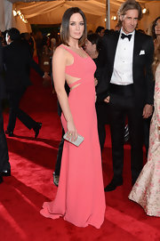 Emily Blunt was stunning in a pink minimalist design on the Met Gala red carpet.