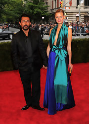 We loved Constant Jablonski's vibrant sash gown at the Met Gala.