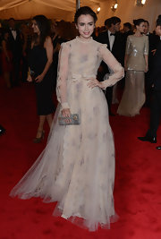 Lily Collins channeled 'Gone With the Wind' in this lacy tulle gown at the Met Gala.