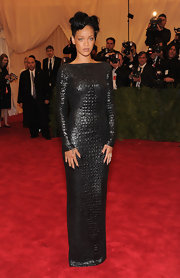 Rihanna looked magnificent in this croco-embossed gown on the Met red carpet.