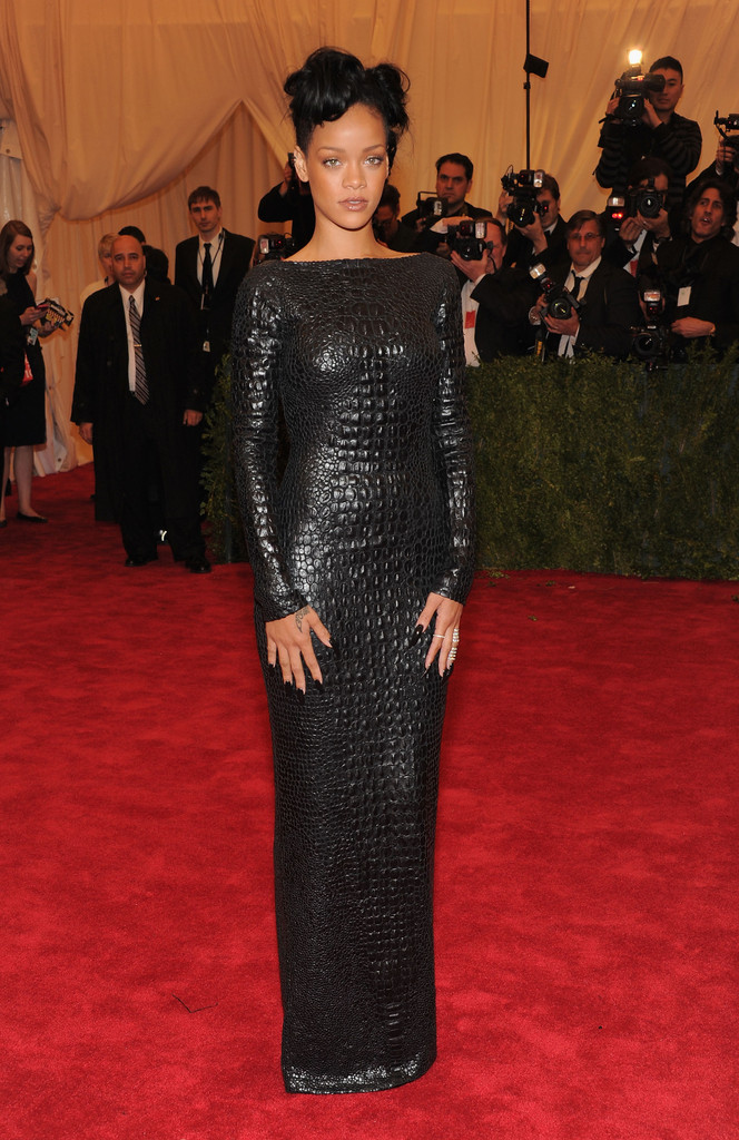 "Rihanna attends the ""Schiaparelli And Prada: Impossible Conversations"" Costume Institute Gala at the Metropolitan Museum of Art on May 7, 2012 in New York City."