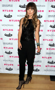 Olivia hit Nylon's Denim Issue launch party in an-all black look including these exquisite Paola lace ankle boots.