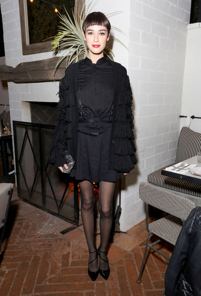 Margaux Brook made goth look fun with this fringed cardigan and LBD combo at the Nylon celebration of Anna Kendrick's February cover.