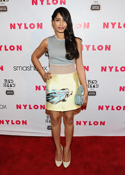 Freida Pinto paired a classic ivory pumps with her cool printed Prada frock at the 'Nylon' magazine 13th anniversary celebration.