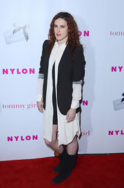 Rumer Willis stepped into a pair of slouchy black suede boots for a celebration of 'Nylon' magazine's young Hollywood issue.