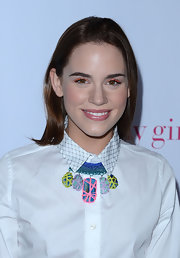 Christa B. Allen added striking neon orange eye liner for the 'Nylon' magazine young Hollywood issue celebration.