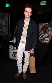 Cameron Monaghan looked great in brown leather lace-up shoes at Nylon Magazine's May Young Hollywood Celebration.