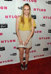 Levin looked sweet and summery in a two-tone yellow and cream cocktail dress for the Nylon Young Hollywood party.