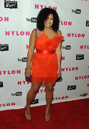 Jordin Sparks wore a strapless red organza dress for the Nylon Magazine Young Hollywood celebration.