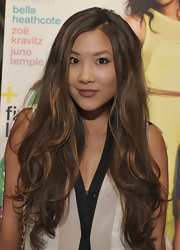 Ally Maki wore her long lightened tresses in windswept waves at the 'Nylon' celebration for the new young Hollywood issue.