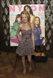 Britt Robertson looked darling in a strapless floral dress at the Nylon Magazine Young Hollywood Issue dinner.
