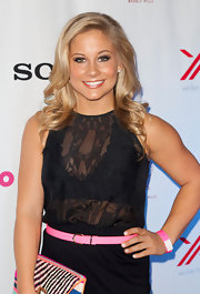 Shawn Johnson showed a bit of sexiness with a sheer black tank top.