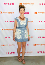 Rachel Perry chose a retro-style denim floral frock for a cool bohemian-inspired look.