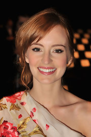 Ahna O'Reilly attended the Naeem Khan fall 2012 fashion show wearing a glossy pearly pink lipstick.