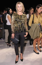 Julianne Hough opted for an edgy look with this gold and black print blouse.