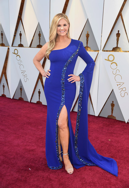 Nancy O'Dell Evening Sandals [blue,flooring,carpet,electric blue,beauty,leg,red carpet,shoulder,cobalt blue,lady,arrivals,nancy odell,academy awards,hollywood highland center,california,90th annual academy awards]
