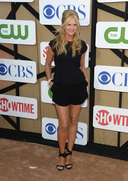 Nancy O'Dell Loose Blouse [footwear,clothing,t shirt,beauty,leg,flooring,shorts,shoulder,fashion accessory,little black dress,arrivals,nancy odell,los angeles,california,cw,cbs,showtime 2013 summer tca,showtime 2013 summer tca party]
