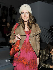 Louise Roe winterized her NYFW look with a white crocheted beanie.
