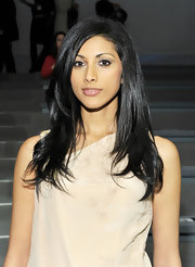 Reshma Shetty wore her hair in a super-shiny layered cut at the Nanette Lepore Fall 2011 fashion show.