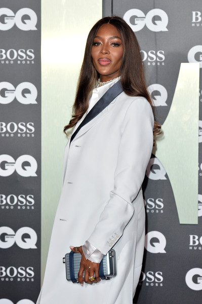 Naomi Campbell Metallic Clutch [clothing,suit,outerwear,fashion,formal wear,premiere,shoulder,blazer,long hair,carpet,red carpet arrivals,naomi campbell,gq men of the year awards,england,london,tate modern]