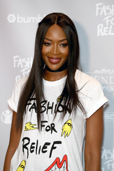 Naomi Campbell Long Straight Cut [relief cannes 2018 photocall,hair,hairstyle,shoulder,fashion,long hair,t-shirt,lip,black hair,cool,neck,naomi campbell,fashion,cannes,france,martinez hotel,fashion for relief cannes,cannes film festival,photocall]