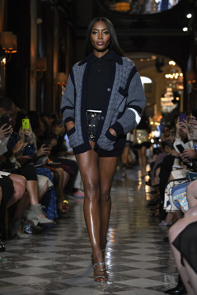 Naomi Campbell Cardigan [fashion model,fashion,fashion show,runway,clothing,haute couture,event,model,leg,fashion design,naomi campbell,miu miu,paris,runway,france,hotel regina,cruise collection show : runway]