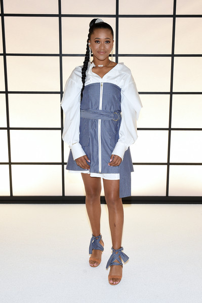 Naomi Osaka Strapless Dress [winter 2020 show,white,clothing,fashion,denim,street fashion,fashion design,shoulder,footwear,outerwear,fashion show,naomi osaka,adeam fall,front row,new york city,high line hotel,adeam fall | winter 2020 show,imaan hammam,new york fashion week,fashion show,fashion week,fashion,runway,model,wikifeet,adeam]