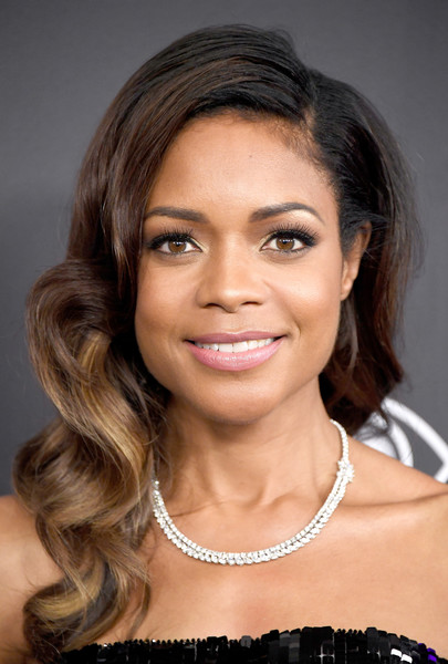 Naomie Harris Diamond Collar Necklace [hair,face,eyebrow,hairstyle,forehead,chin,beauty,lip,skin,shoulder,arrivals,naomie harris,beverly hills,california,the beverly hilton hotel,warner bros. pictures,instyle host,post-golden globes party]