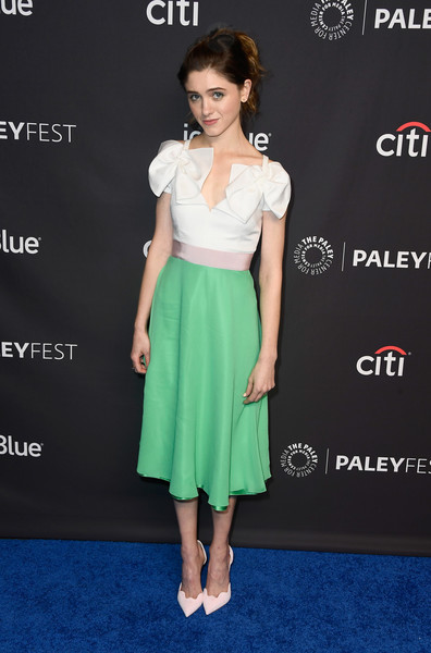 Natalia Dyer Evening Pumps [stranger things,clothing,dress,cocktail dress,shoulder,hairstyle,fashion,fashion model,footwear,waist,carpet,natalia dyer,los angeles,dolby theatre,california,hollywood,paley center for media,paleyfest]