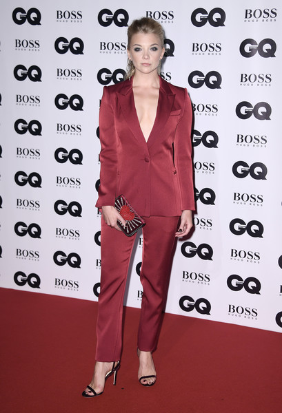Natalie Dormer Strappy Sandals [clothing,red,pantsuit,red carpet,carpet,premiere,suit,fashion model,flooring,formal wear,gq men of the year awards,natalie dormer,gq men of the year awards,england,london,tate modern,red carpet arrivals]