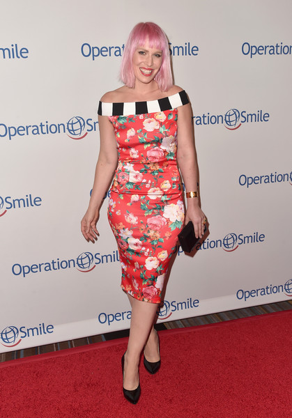 Natasha Bedingfield Off-the-Shoulder Dress [clothing,dress,shoulder,cocktail dress,red,red carpet,carpet,hairstyle,joint,footwear,arrivals,natasha bedingfield,beverly hills,california,beverly wilshire four seasons hotel,operation smile,smile gala]