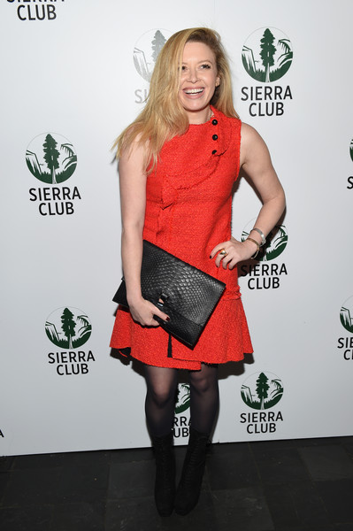 Natasha Lyonne Oversized Clutch [act in paris,clothing,red,footwear,fashion,dress,joint,cocktail dress,leg,knee,carpet,natasha lyonne,mckittrick hotel,new york city,sierra club,a night of comedy and climate action,a night of comedy and climate action for heath]