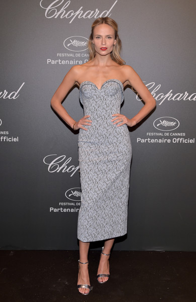 Natasha Poly Strapless Dress [cocktail dress,dress,fashion model,flooring,gown,beauty,shoulder,fashion show,joint,formal wear,caroline scheufele,natasha poly,rihanna,chopard space party - photocall,cannes,france,port canto,chopard space party,chopard,cannes film festival]