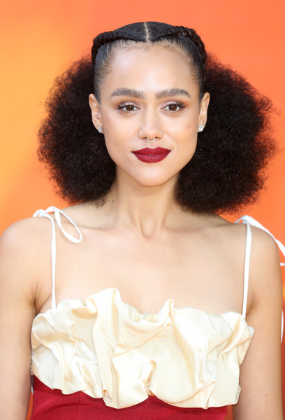 Nathalie Emmanuel Half Up Half Down [the lion king,hair,lip,beauty,hairstyle,skin,chin,fashion,shoulder,photo shoot,long hair,european premiere,nathalie emmanuel,european,england,london,leicester square,red carpet arrivals,premiere]