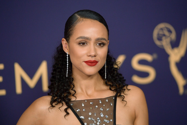 Nathalie Emmanuel Half Up Half Down [hair,face,eyebrow,lip,hairstyle,beauty,head,skin,lady,chin,arrivals,nathalie emmanuel,emmy awards,microsoft theater,los angeles,california]