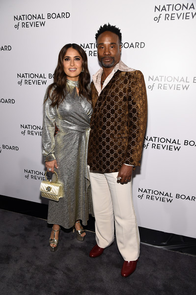 More Pics of Salma Hayek Platform Sandals (4 of 18) - Salma Hayek Lookbook - StyleBistro [fashion,fashion design,event,suit,outerwear,carpet,premiere,formal wear,flooring,style,arrivals,billy porter,salma hayek,new york city,cipriani 42nd street,national board of review annual awards gala,national board of review annual awards gala,salma hayek,billy porter,national board of review,new york,annual awards gala,photograph,getty images,photography,film criticism]