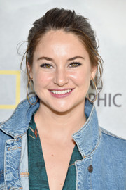 Shailene Woodley spruced up her look with a pair of gold hoops.