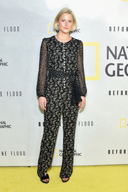 Mamie Gummer went for a conservative printed jumpsuit when she attended the screening of 'Before the Flood.'