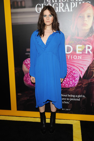 Black mid-calf boots finished off Hari Nef's outfit.