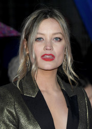 Laura Whitmore's red lipstick looked gorgeous against her metallic outfit.