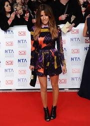 Caroline Flack went the funky route at the National Television Awards in this collared silk dress.