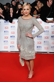 Fearne Cotton wore a silver beaded and fringed cocktail dress for the National Television Awards.