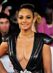 Alesha Dixon's dangling diamond earrings were a classy complement to her sexy dress at the National Television Awards.