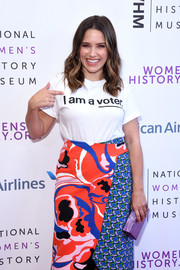 Sophia Bush accessorized with a lavender box clutch by Edie Parker at the Women Making History Awards.