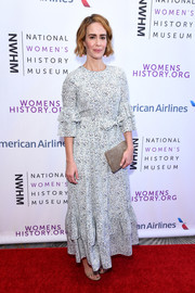 Sarah Paulson went ladylike in a micro-print maxi dress at the Women Making History Awards.