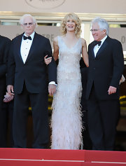 Laura Dern stunned in a fully-beaded and feathered column dress.