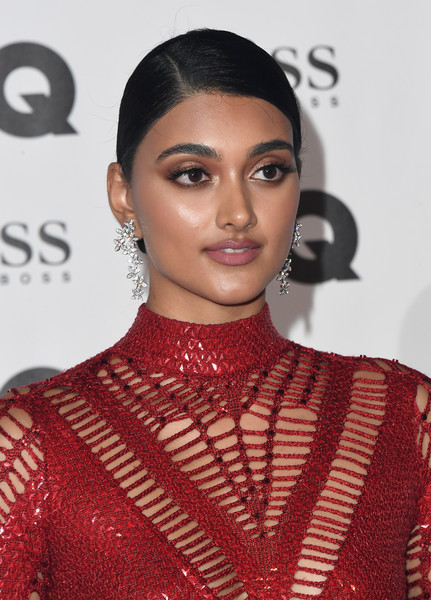 Neelam Gill Chignon [fashion model,beauty,eyebrow,hairstyle,lip,flooring,fashion,black hair,long hair,neck,red carpet arrivals,neelam gill,gq men of the year awards,awards,england,london,tate modern,gq men of the year]