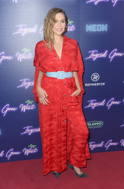 Elizabeth Olsen looked exotic in a kimono-inspired button-front maxi dress by Rosie Assoulin at the New York premiere of 'Ingrid Goes West.'